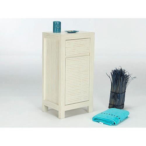 Armoire basse babylon en pin laqu blanc massivum achat for Armoire basse chambre adulte