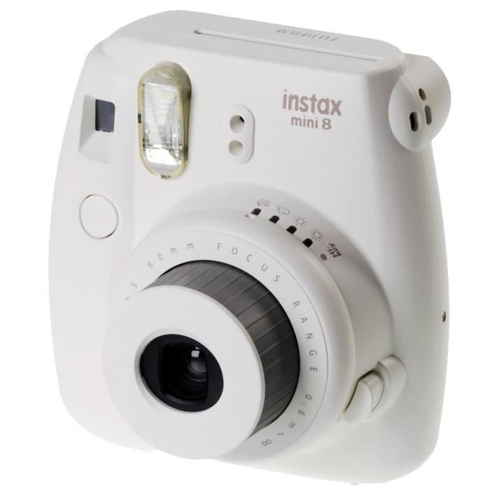 fuji instax mini 8 blanc appareil photo instantan photovideopascher. Black Bedroom Furniture Sets. Home Design Ideas