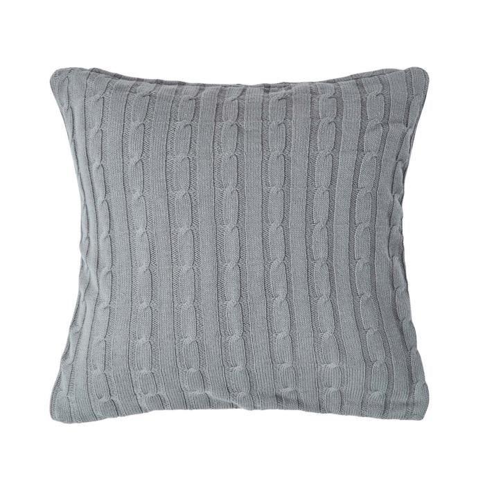 Coussin d houssable 100 coton torsad gris 45 x 45 cm for Housse de coussin gris