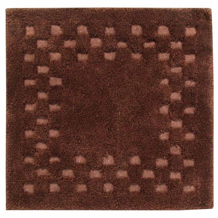 Tapis De Bain Piqu De Carreaux 50 X 50 Cm Coloris Chocolat Achat Vente Tapis De Bain
