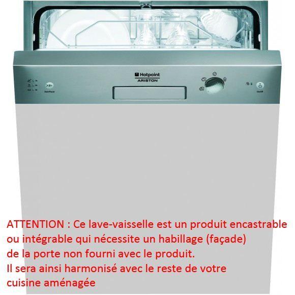 Lave vaisselle int grable lfs216frix r hotpoint achat for Consommation d eau lave vaisselle