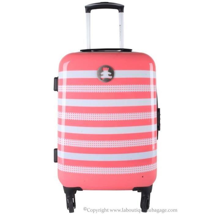 lulu castagnette valise cabine rigide agp2 rose blanc achat vente valise bagage. Black Bedroom Furniture Sets. Home Design Ideas