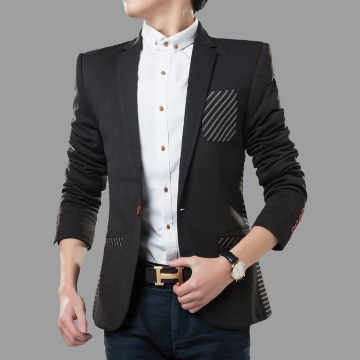 veste homme blazer veste costume homme slim noir noir achat vente veste cadeaux de no l. Black Bedroom Furniture Sets. Home Design Ideas