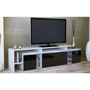 Meuble tv design laqu blanc et noir oui non achat - Meuble tv laque blanc et noir ...