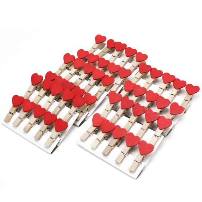 50x pinces linges en bois c ur rouge pr scrapbooking - Decoration coeur rouge ...