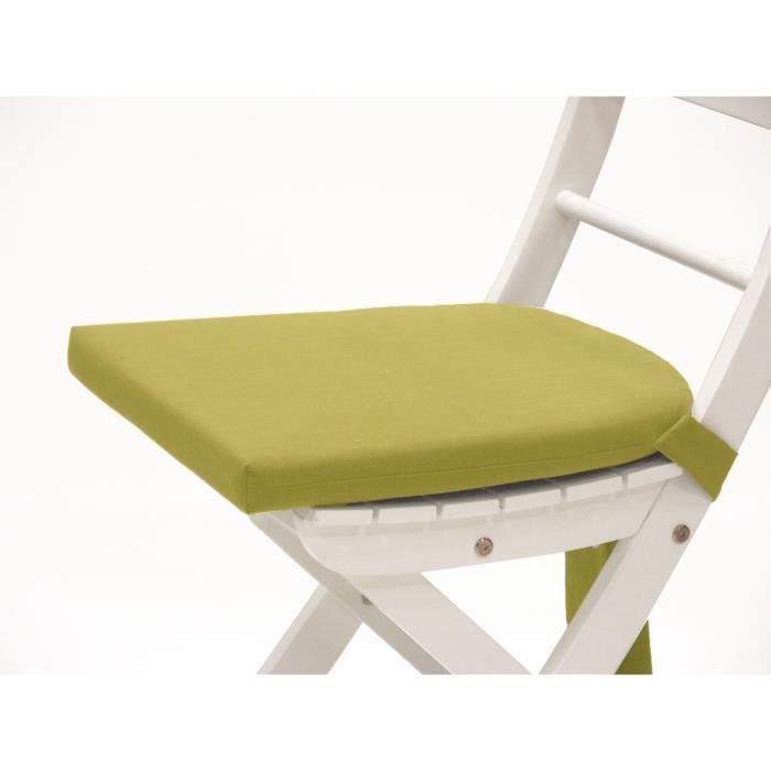 Galette de chaise 1 java citron vert achat vente - Galette chaise exterieur impermeable ...