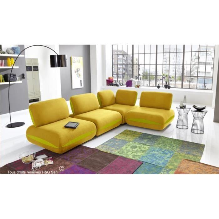Canape d angle tissu 4 places design hit jaune avec for Canape 3 places avec pouf