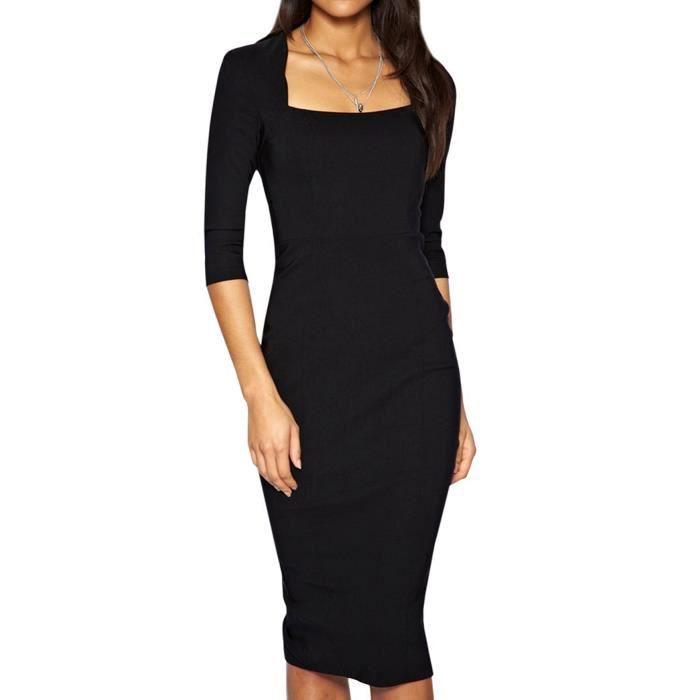 robe de bureau manches 3 4 et noir noir achat vente robe cdiscount. Black Bedroom Furniture Sets. Home Design Ideas