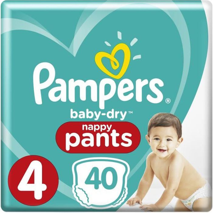 Pampers baby dry pants taille 4 8 15kg x40 couches achat - Prix couches pampers baby dry taille 2 ...