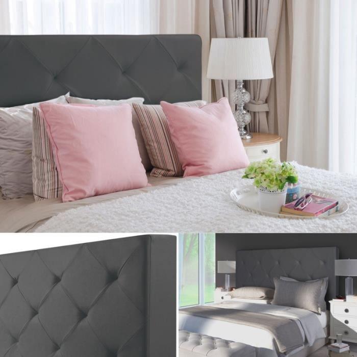 T te de lit capitonn e pu gris 160x60 cm imprim 14 for Lit avec tete de lit capitonnee