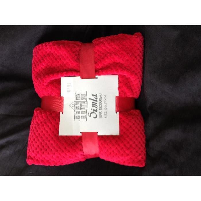 plaid coral rouge 130x170cm simla achat vente. Black Bedroom Furniture Sets. Home Design Ideas