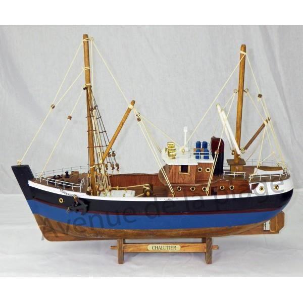 maquette bateau de p che en bois 45 cm achat vente objet d coratif bois cdiscount. Black Bedroom Furniture Sets. Home Design Ideas