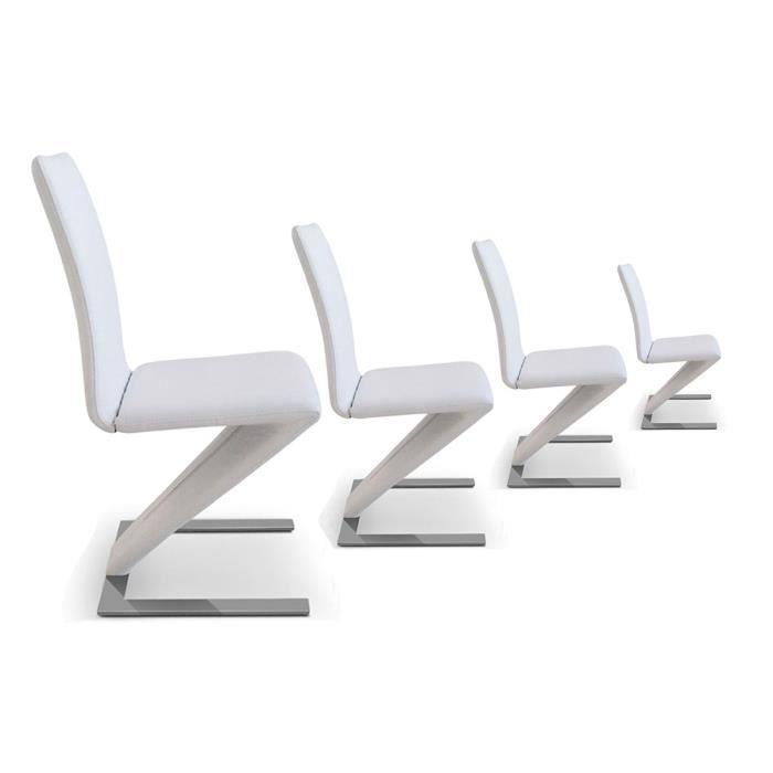 Lot de 4 chaises design pu blanc hori achat vente - Lot de 4 chaises design ...