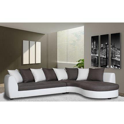 Canap d 39 angle droite en pu blanc tissu gris achat vente canap - Canape d angle livraison gratuite ...