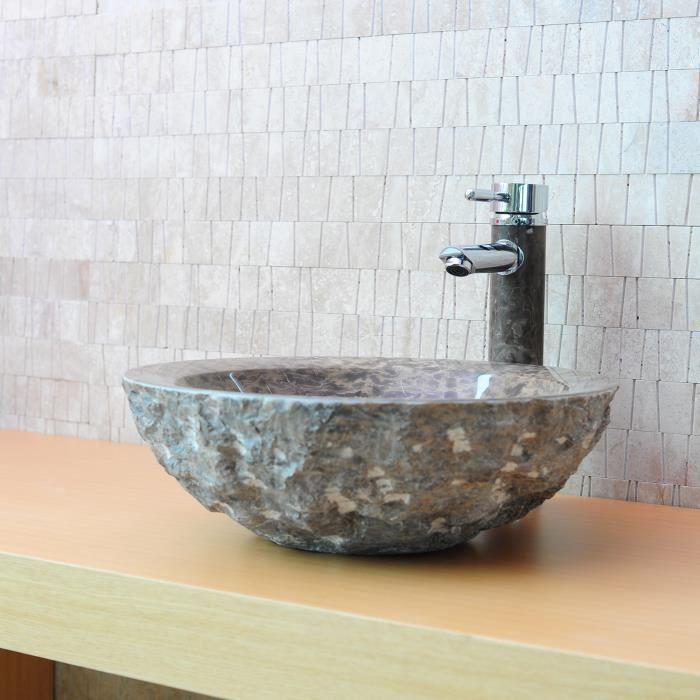 vasque poser en pierre ronde wasa marbre brun achat vente lavabo vasque vasque ronde. Black Bedroom Furniture Sets. Home Design Ideas