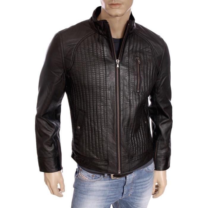 kaporal premium veste en cuir slim fit homme toky. Black Bedroom Furniture Sets. Home Design Ideas