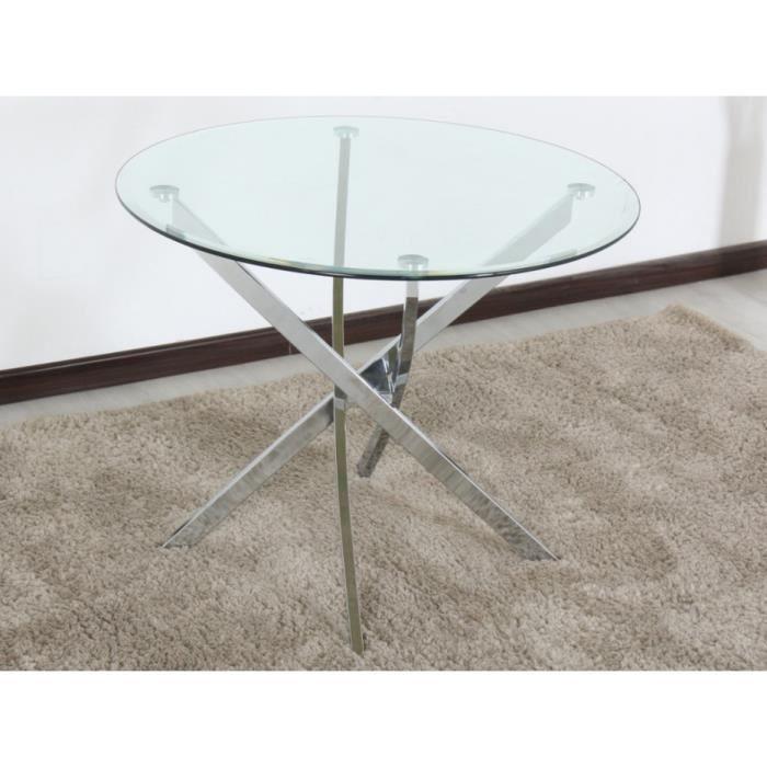 Table manger loriane 4 couverts verre tremp et - Table a manger verre trempe ...