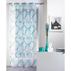 rideaux voilage bleu 140x240 a oeillets achat vente rideaux voilage bleu 140x240 a oeillets. Black Bedroom Furniture Sets. Home Design Ideas