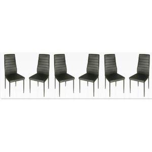 CHAISE Lot de 6 chaises Design Noires