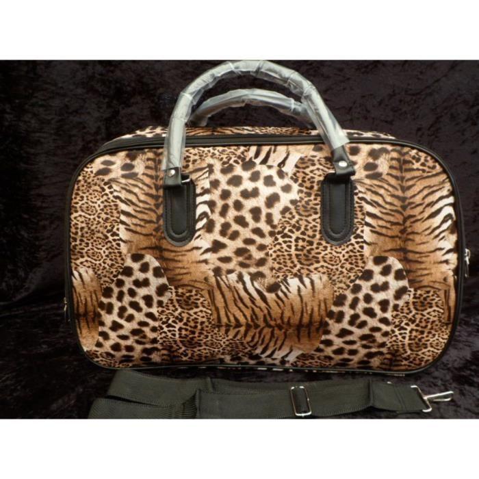 sac de voyage de cours de plage de sport motif leopard marron avec bandouliere achat vente. Black Bedroom Furniture Sets. Home Design Ideas