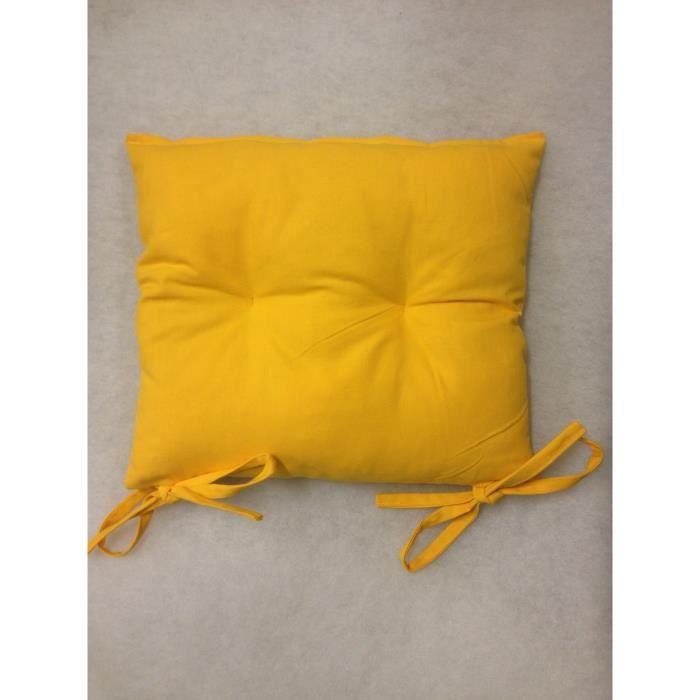 Coussin de chaise 40x40 haute qualit 840gr jaune achat for Coussin de chaise haute