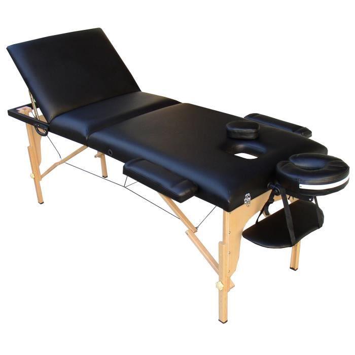 m2k table de massage noire bois pliante portable 3 zones. Black Bedroom Furniture Sets. Home Design Ideas
