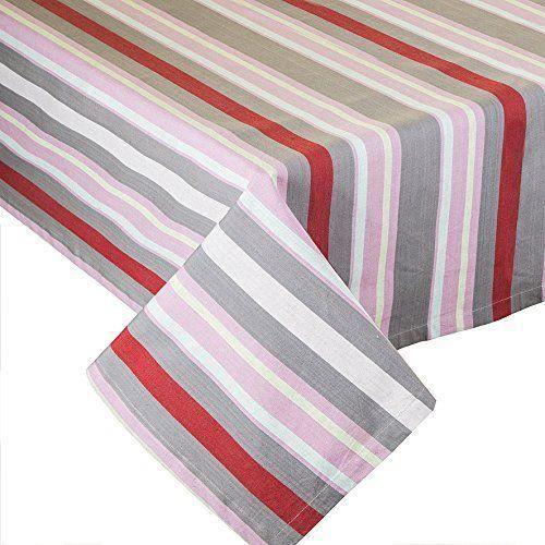 sia home fashion coton nappe rayures rose rouge gris blanc achat vente nappe de table. Black Bedroom Furniture Sets. Home Design Ideas
