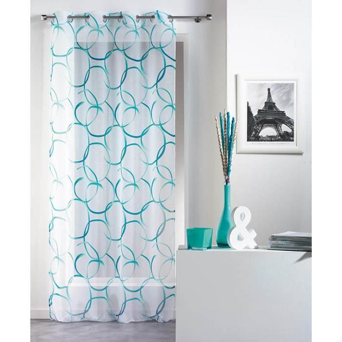 voilage oeillets 140x240 bimba bleu achat vente rideau. Black Bedroom Furniture Sets. Home Design Ideas