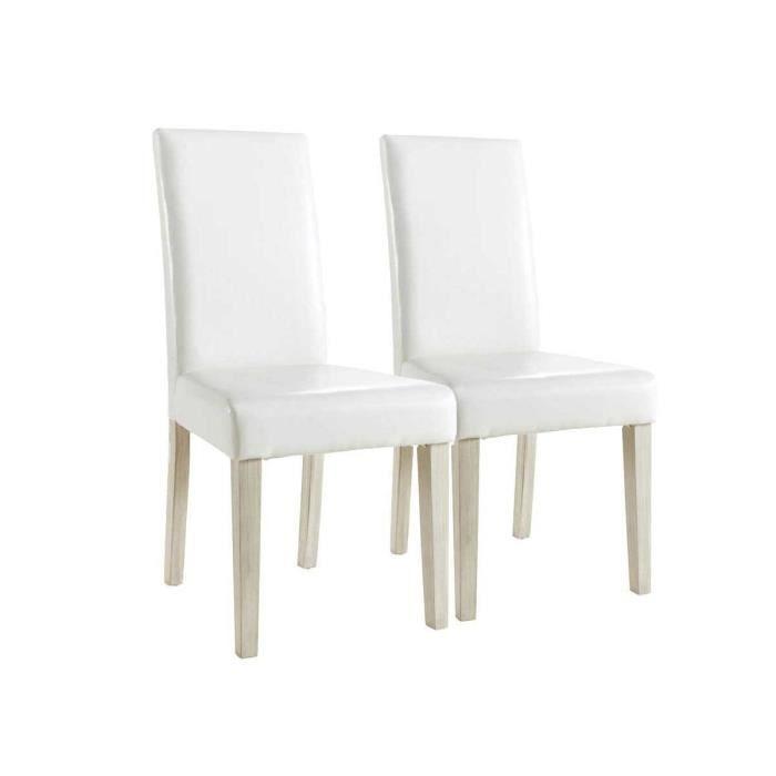 lot de 2 chaises guevara segur 55 5 x 45 x 94 cm blanc achat vente table basse lot de 2. Black Bedroom Furniture Sets. Home Design Ideas