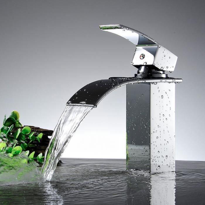 Ancheer robinetterie robinet de salle de bain robinet cuisine carr cascade robinet vier - Robinetterie laiton salle de bain ...