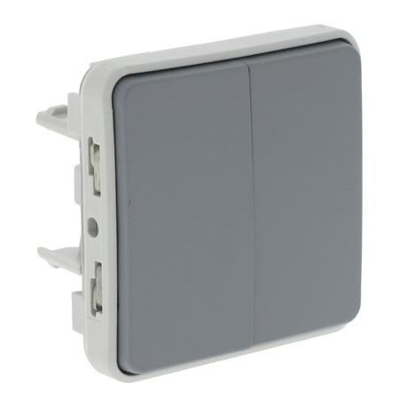 bouton double poussoir gris composable gris achat vente interrupteur cdiscount. Black Bedroom Furniture Sets. Home Design Ideas