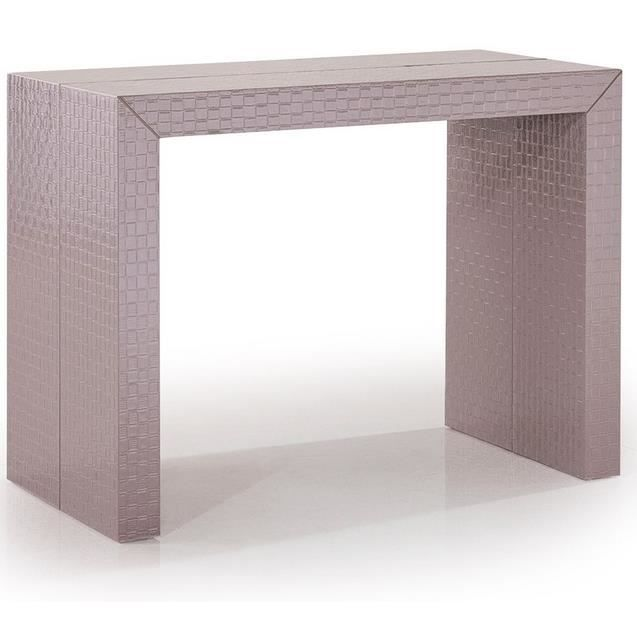 Table console extensible osier tresse taupe achat vente console extensible table console - Console extensible taupe ...