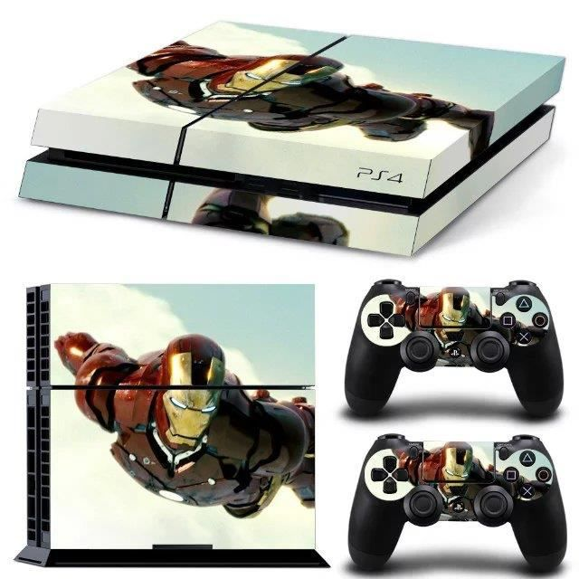 informatique sacoches accessoires skin autocollant motif iron man pour sony ps play f  mou
