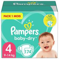 COUCHE PAMPERS Baby Dry Taille 4, 7 à 18kg 174 couches
