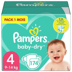 COUCHE PAMPERS Baby Dry Taille 4 - 8 à 16kg - 174 couches
