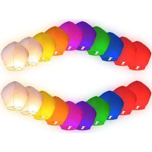 LANTERNE FANTAISIE Lot de 20 Lanternes volantes multicolores chinoise