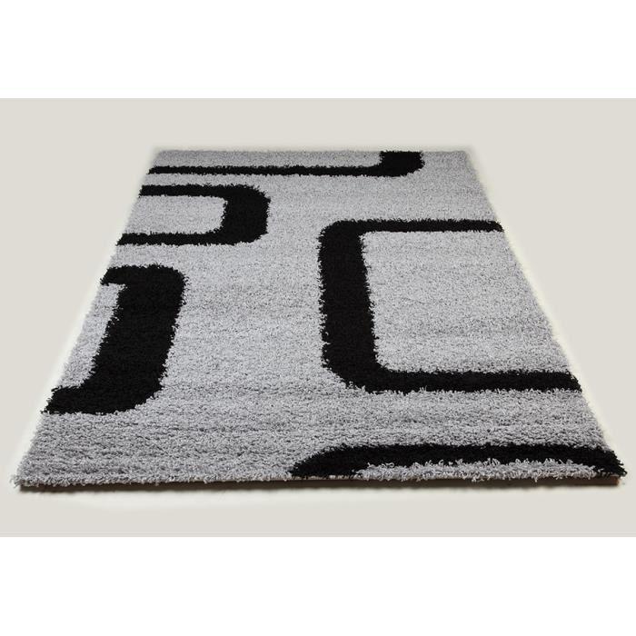 Tapis shaggy gris et noir de salon vasco 10 l 200 x p 290 - Tapis shaggy gris 200x290 ...