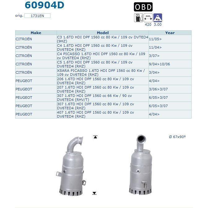 pot catalytique pour citroen c5 1 6td hdi dpf 1560 achat vente pot catalytique pot. Black Bedroom Furniture Sets. Home Design Ideas