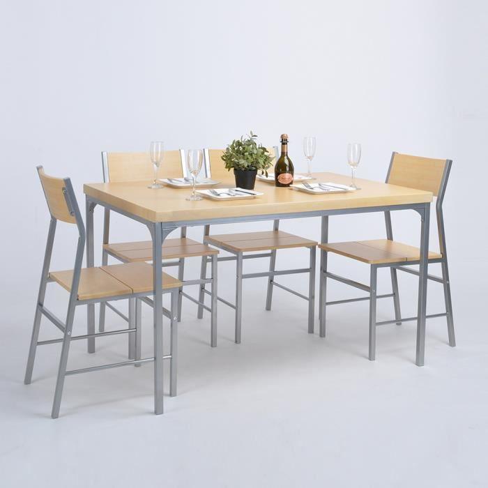 Lot de 5 salle manger noir de chaises et table de salle for Table salle a manger noir
