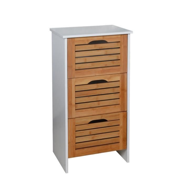 Meuble salle de bain bois et bambou 3 tiroirs achat for Meuble de salle de bain blanc et bois