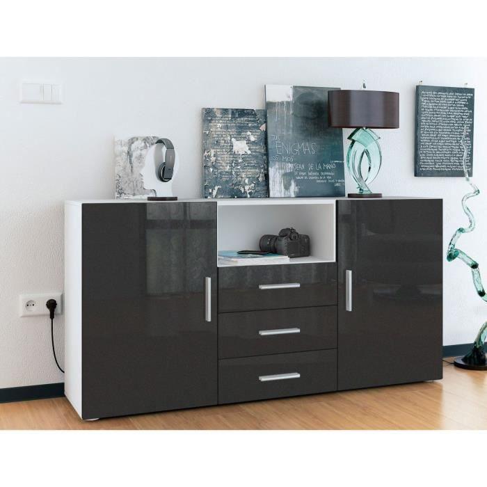 buffet enfilade blanc et noir m tallique 3 tiroirs achat. Black Bedroom Furniture Sets. Home Design Ideas