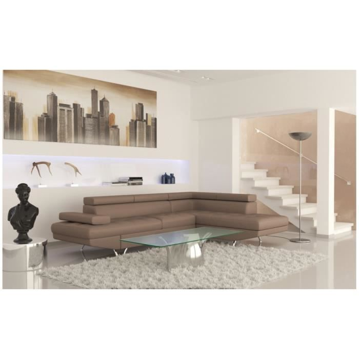 Rio canap d angle gauche convertible taupe achat vente canap sofa divan cdiscount - Canape d angle convertible taupe ...