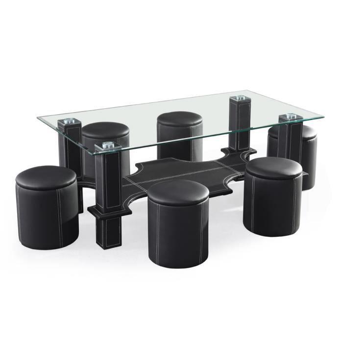 Table verre 6 poufs for Table verre 6 poufs