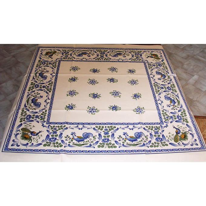 nappe carr e 100x100 cm les coqs bleu achat vente nappe de table cdiscount. Black Bedroom Furniture Sets. Home Design Ideas