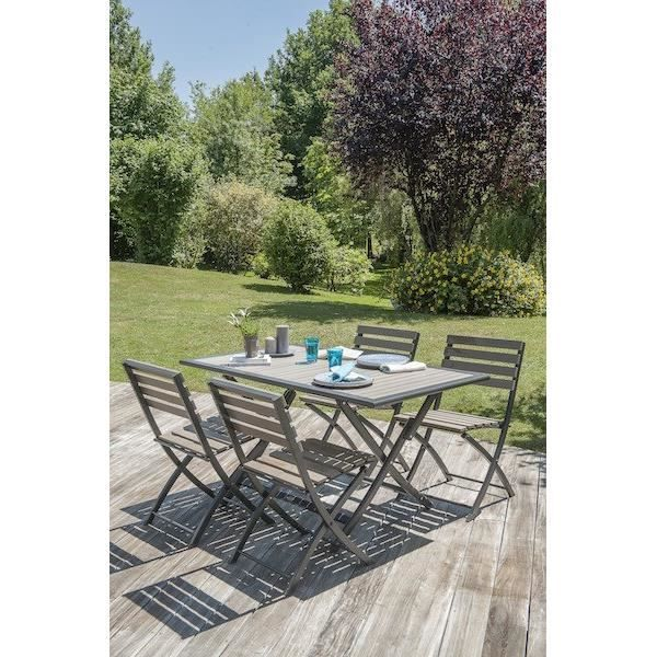 Ensemble de jardin en aluminium 4 places table pliable - Table de jardin aluminium pliable ...