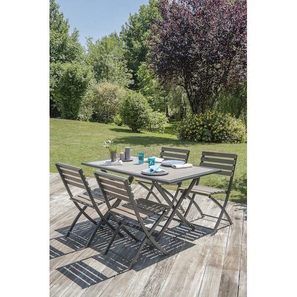 Table aluminium et bois composite lames claires achat - Table de jardin alu et bois composite ...