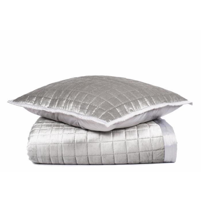 couvre lit 240x260cm gris come achat vente jet e de. Black Bedroom Furniture Sets. Home Design Ideas