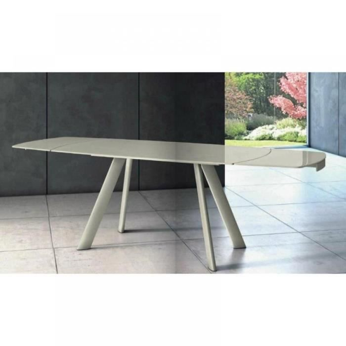 Allegria table extensible taupe plateau verre d achat for Table a manger taupe