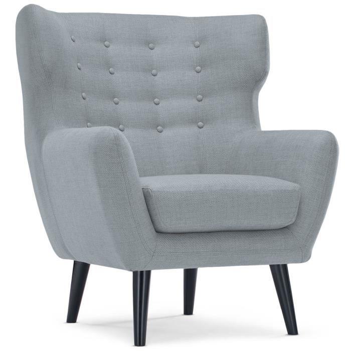 fauteuil scandinave depalma tissu gris achat vente fauteuil gris cdiscount. Black Bedroom Furniture Sets. Home Design Ideas