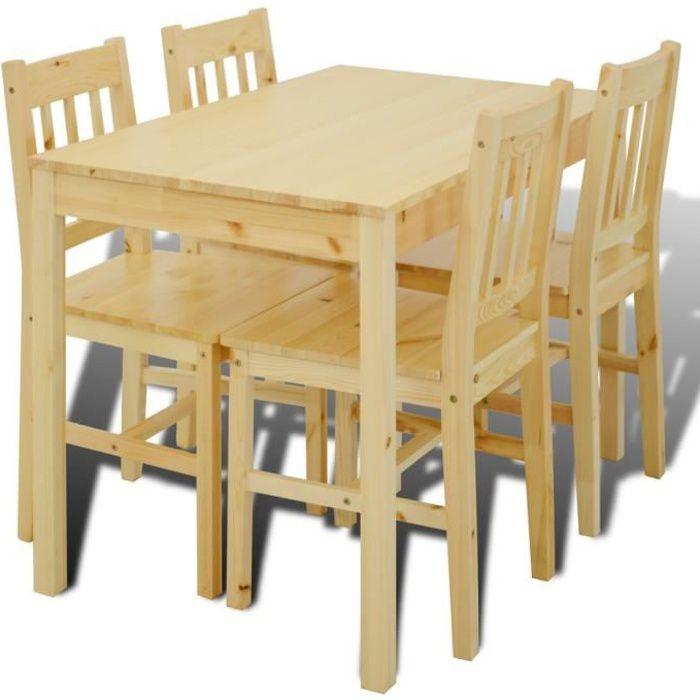magnifique table a manger avec 4 chaises en bois naturel achat vente table a manger complet. Black Bedroom Furniture Sets. Home Design Ideas